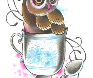 cup, owl, and print image