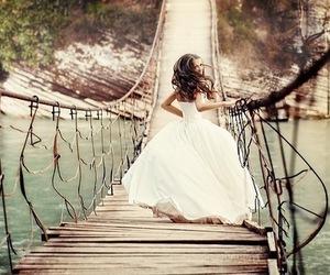 dress, bridge, and wedding image