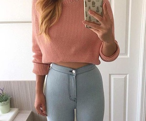 autumn, jeans, and peach image