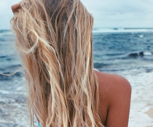 beach, summer, and hair image