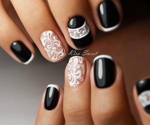 black, nails, and nail design image