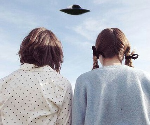 alien, girl, and ufo image