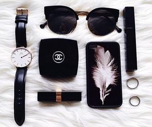 sunglasses, black, and chanel image
