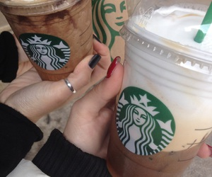heart it, nails, and starbucks image