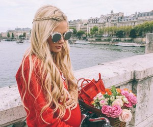 blonde, city, and girl image