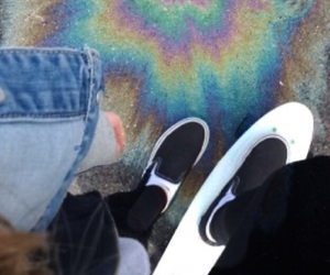 vans, penny board, and rainbow oil image