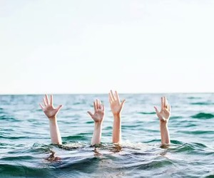 hands, sea, and summer image