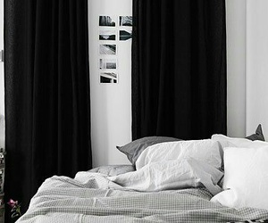 bed, bedding, and black image