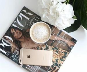 coffee, magazine, and flowers image