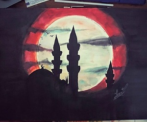 black, draw, and moon image