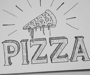 black and white and pizza image