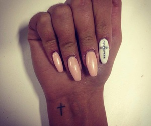 nails, tattoo, and cross image