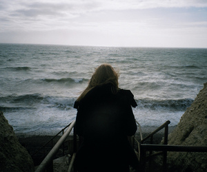 girl, hair, and ocean image