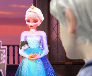 frozen, jack frost, and queen elsa image