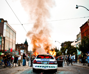 fire, police, and rebel image