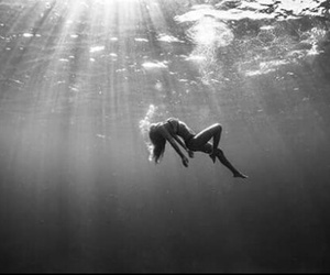 water, sea, and black and white image