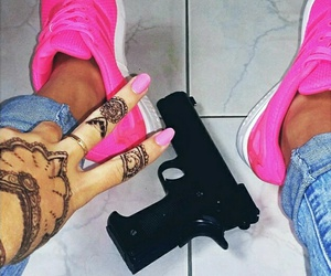 girl, gun, and henna image