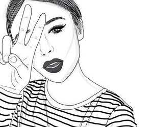 outline, girl, and drawing image
