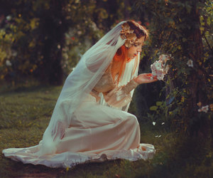 beautiful, veil, and bride image
