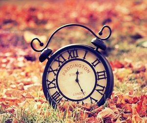 clock, autumn, and time image