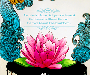 quotes, lotus, and flower image