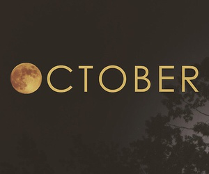 october, moon, and autumn image