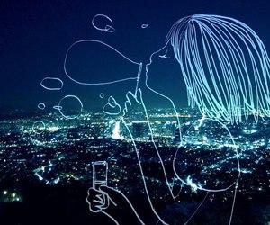 night, art, and blue image