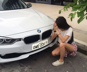 girl, bmw, and car image