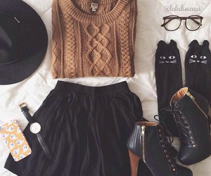 boots, hat, and sweaters image