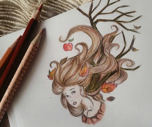 autumn, drawing, and hair image