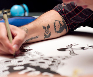 tattoo, boy, and draw image