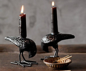 candle, dark, and raven image
