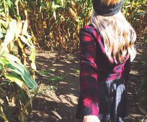 autumn, outfit, and corn maze image