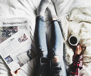 coffee, jeans, and socks image