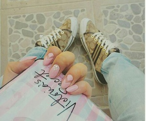coach, nails, and pink image