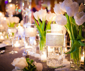 tulips, candles, and dinner image