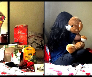 bear, gifts, and bed image