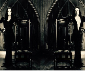 wednesday, morticia, and family addams image