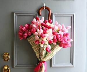 flowers, umbrella, and door image
