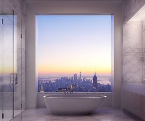 bathroom, city, and view image