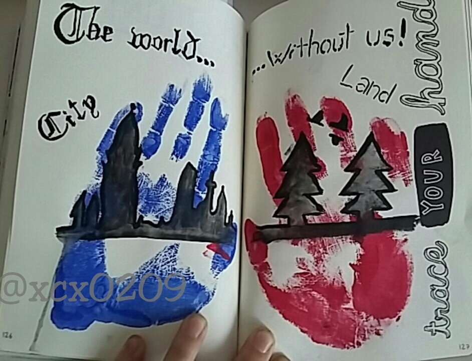 art, handprint, and land image