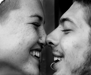 love, piercing, and black and white image