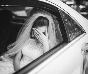 bride, sad, and wedding image