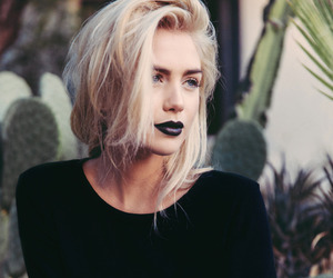 girl, black, and blonde image