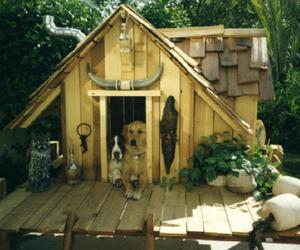 dog, puppy, and dog house image