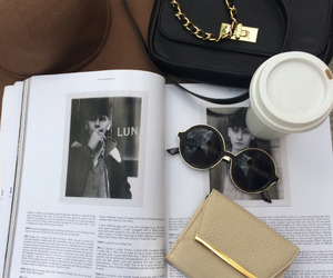 coffee, fashion, and sunglasses image