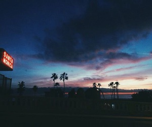 sky, sunset, and santa monica image