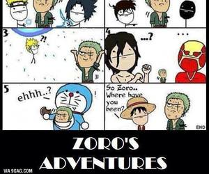 one piece, naruto, and zoro image