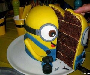 cake, minions, and chocolate image