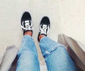 jeans, vans, and fashion image